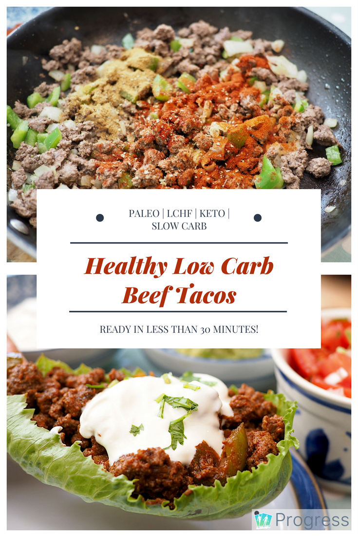 Looking for a quick low carb dinner? Try these healthy low carb beef tacos - ready in 30 minutes and easily adaptable for slow carb, keto, paleo and LCHF. Oh, and there's recipes for guac and salsa too. Make these for your next Taco Tuesday!