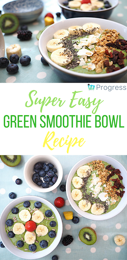 This green smoothie bowl recipe is packed with vitamins and provides a healthy breakfast you can whip up in a flash! YUM! #breakfast #smoothie #smoothiebowl #healthy