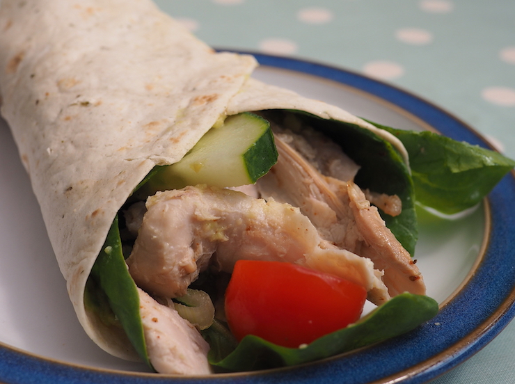 These super tasty lightning fast chicken wraps are easy to make for a healthy lunch, o to use up leftover turkey from the holidays!
