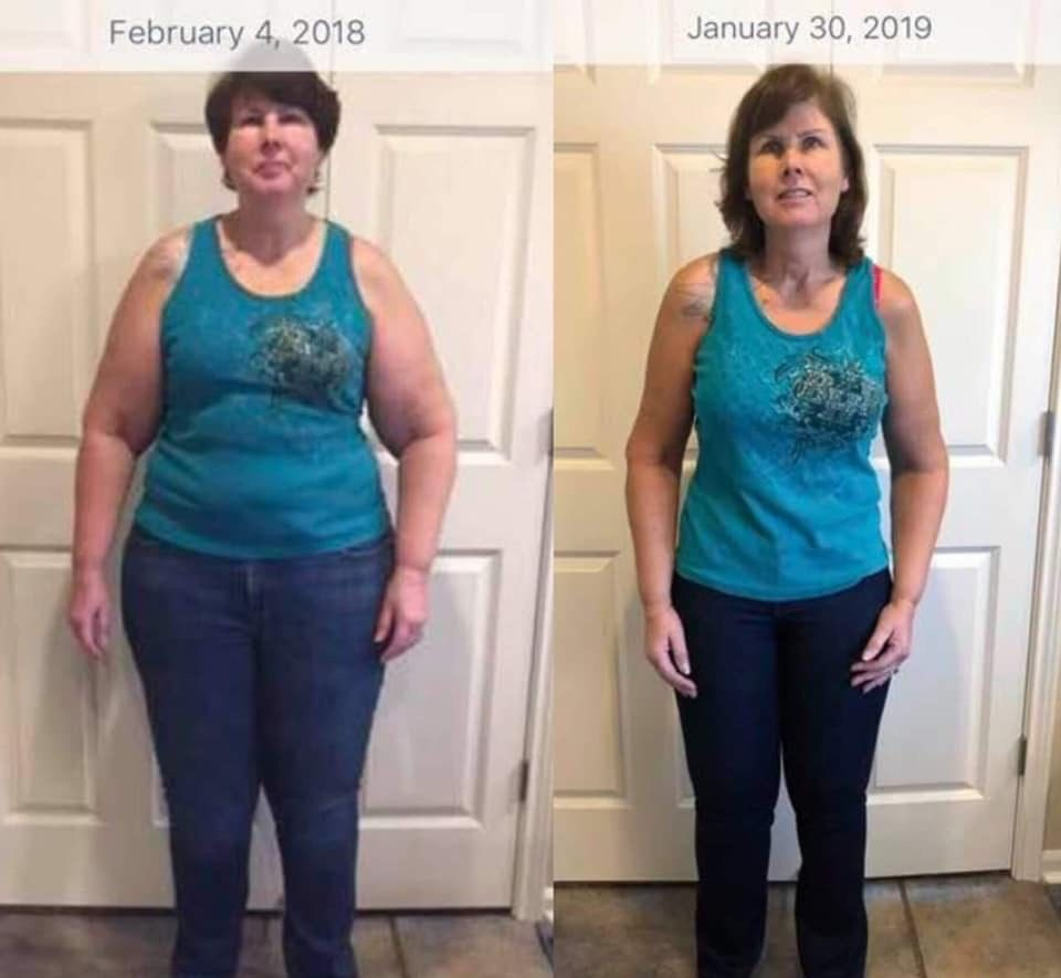Jacque, front picture before and after 80 lbs weight loss