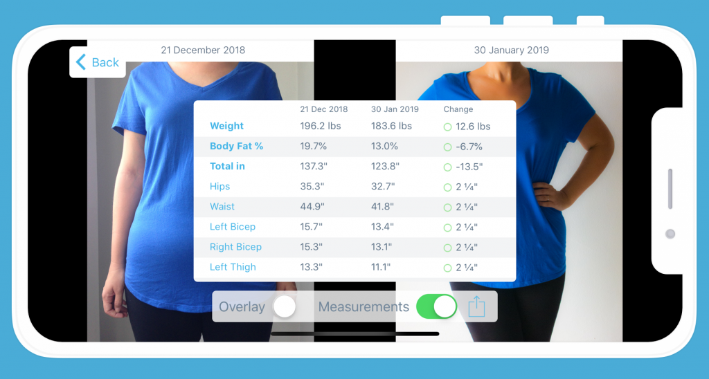 The Progress App - snapshot - before and after weight-loss pictures