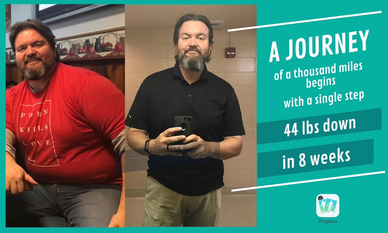 BJ before and after losing 44 lbs