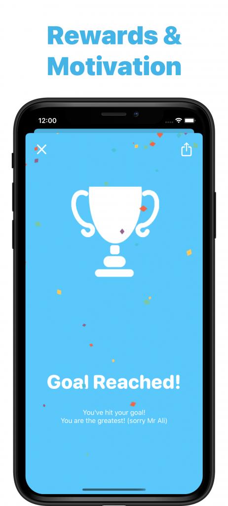 Screenshot of Reward badge for hitting goal